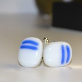 White With Blue Stripes Cufflinks
