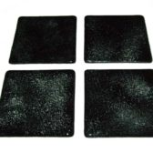 Silver & Black Glass Coasters