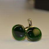 Cufflinks in Green Handcrafted From Glass