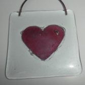 Red Heart Glass Wall Hanging