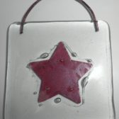 Red Star Fused Glass Wall Hanging