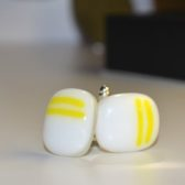Cufflinks White With Yellow Stripes